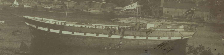 Bark Melanesia ved Gaardalen Verft i Arendal 1884