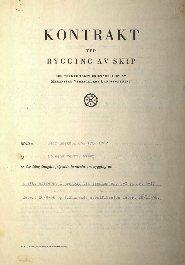 Kontrakt for bygging av slepebåt ved Holmens Verft 28.11.1956 s. 1