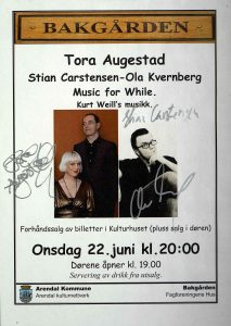 Plakat Tora Augestad, Stian Carstensen og Ola Kvernberg 22. juni 2011