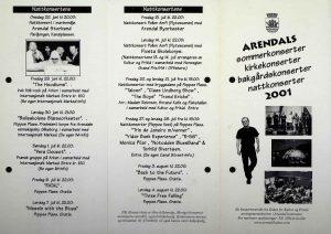 Programblad Arendals sommerkonserter 2001 s. 1