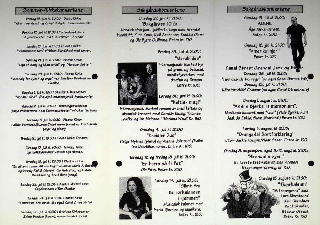 Programblad Arendals sommerkonserter 2001 s. 2
