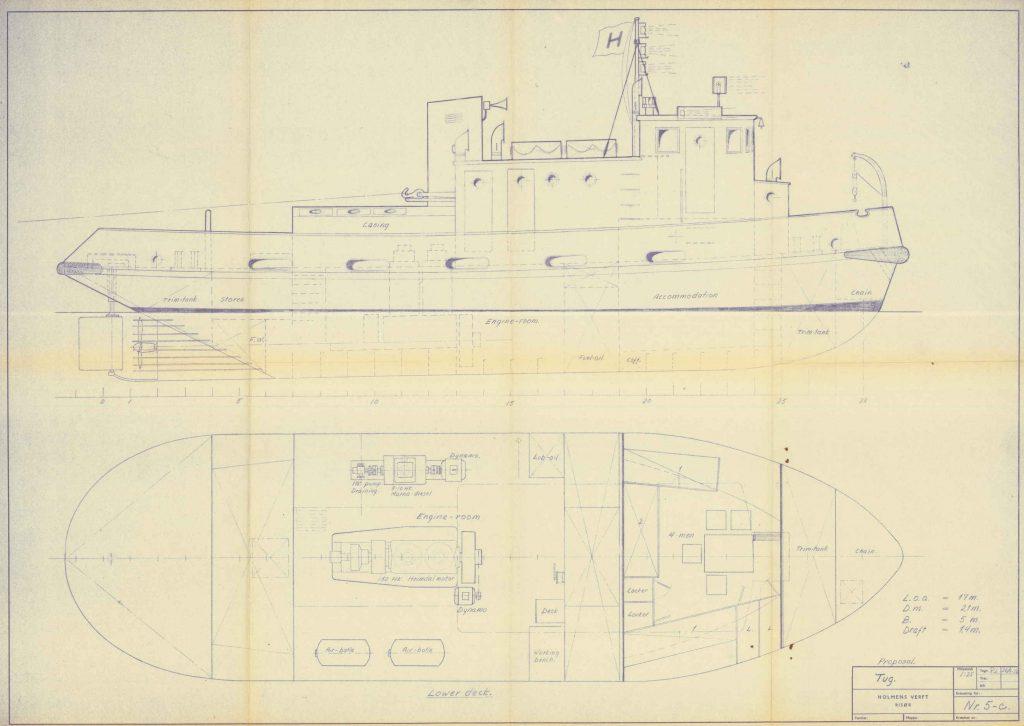Tegning av slepebåt ved Holmens Verft 26.09.1956