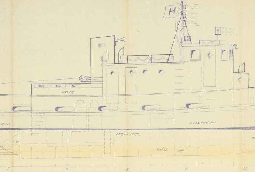 Tegning av slepebåt ved Holmens Verft 26.09.1956 utsnitt