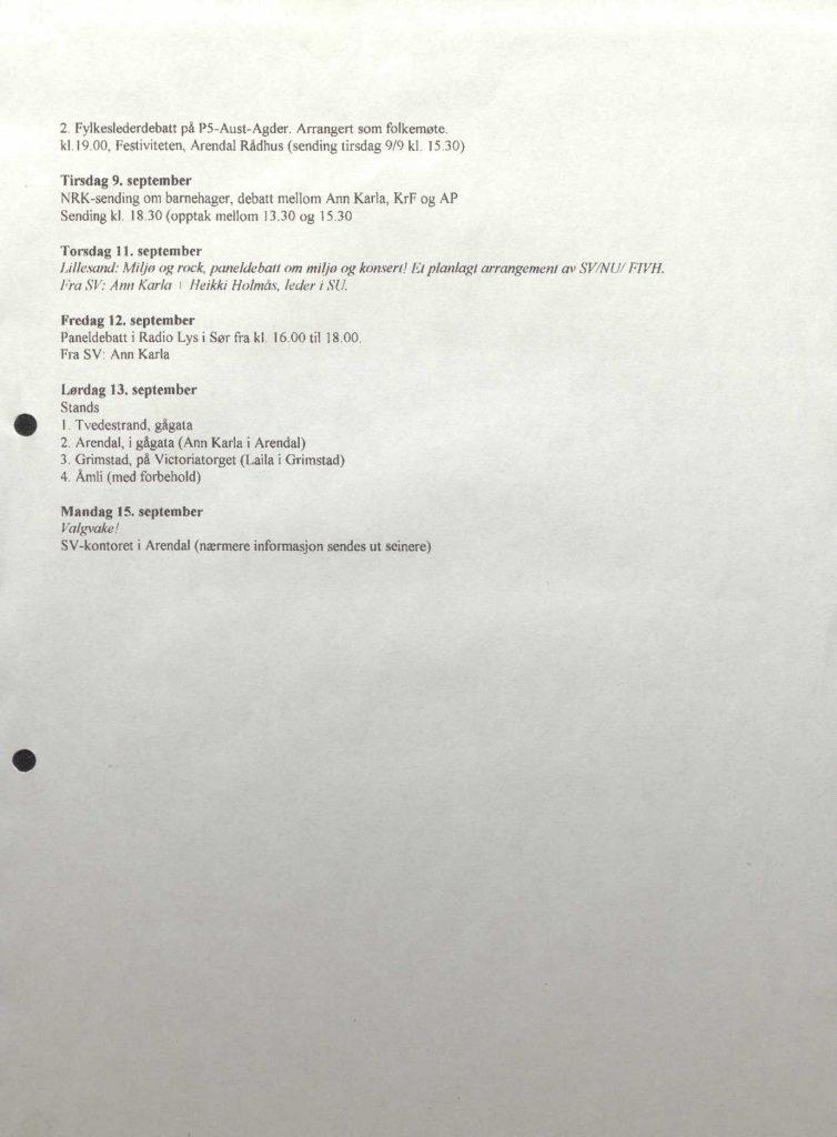Aust-Agder SV sin tempoplan foran stortingsvalget 1997 s. 3