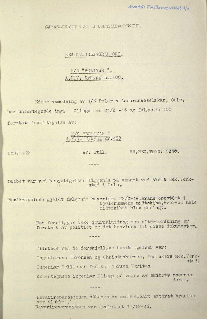 "Forsikringsrapport for M/S ""Bolivar"" 1946 s. 1"