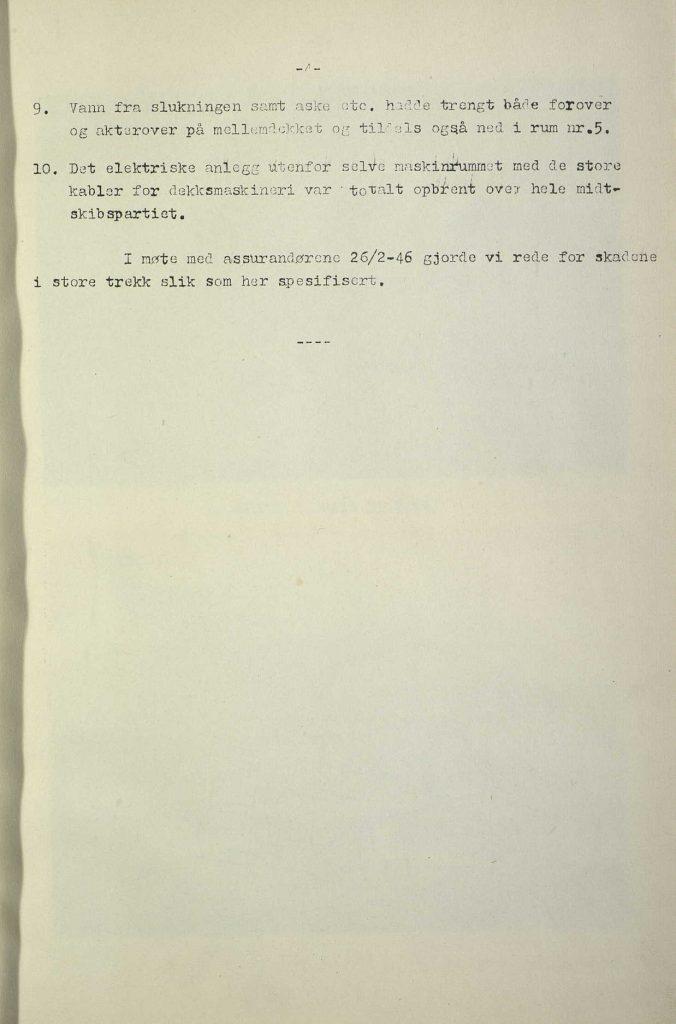 "Forsikringsrapport for M/S ""Bolivar"" 1946 s. 2"