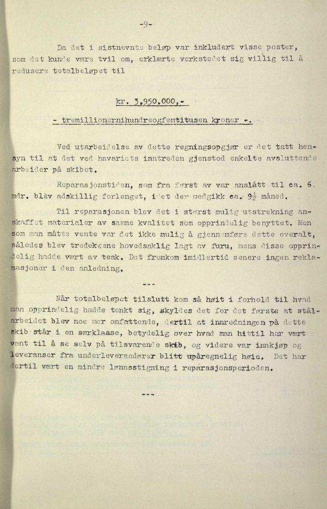 "Forsikringsrapport for M/S ""Bolivar"" 1946 s. 8"