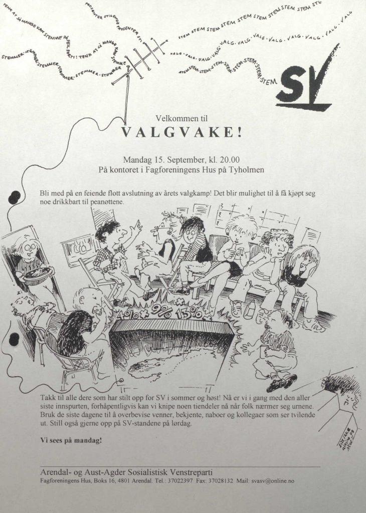 Invitasjon til valgvake med Arendal- og Aust-Agder SV 15.09.1997