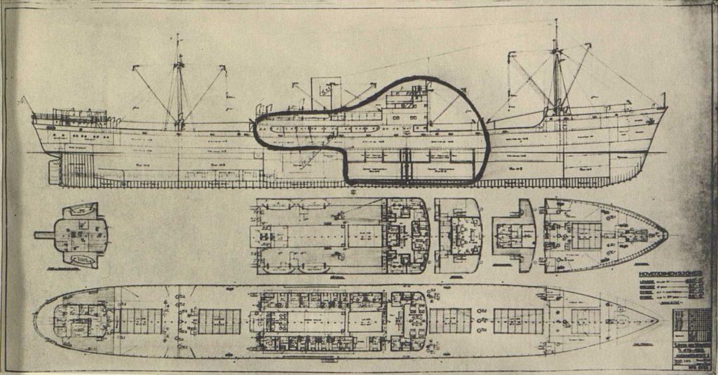 """Planskisse av M/S """"Bolivar"""""""