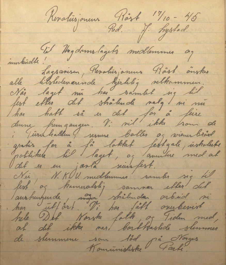 Revolusjonens Røst Lagsavis for Arendals lag av N.K.U. 17.10.1945 s. 1