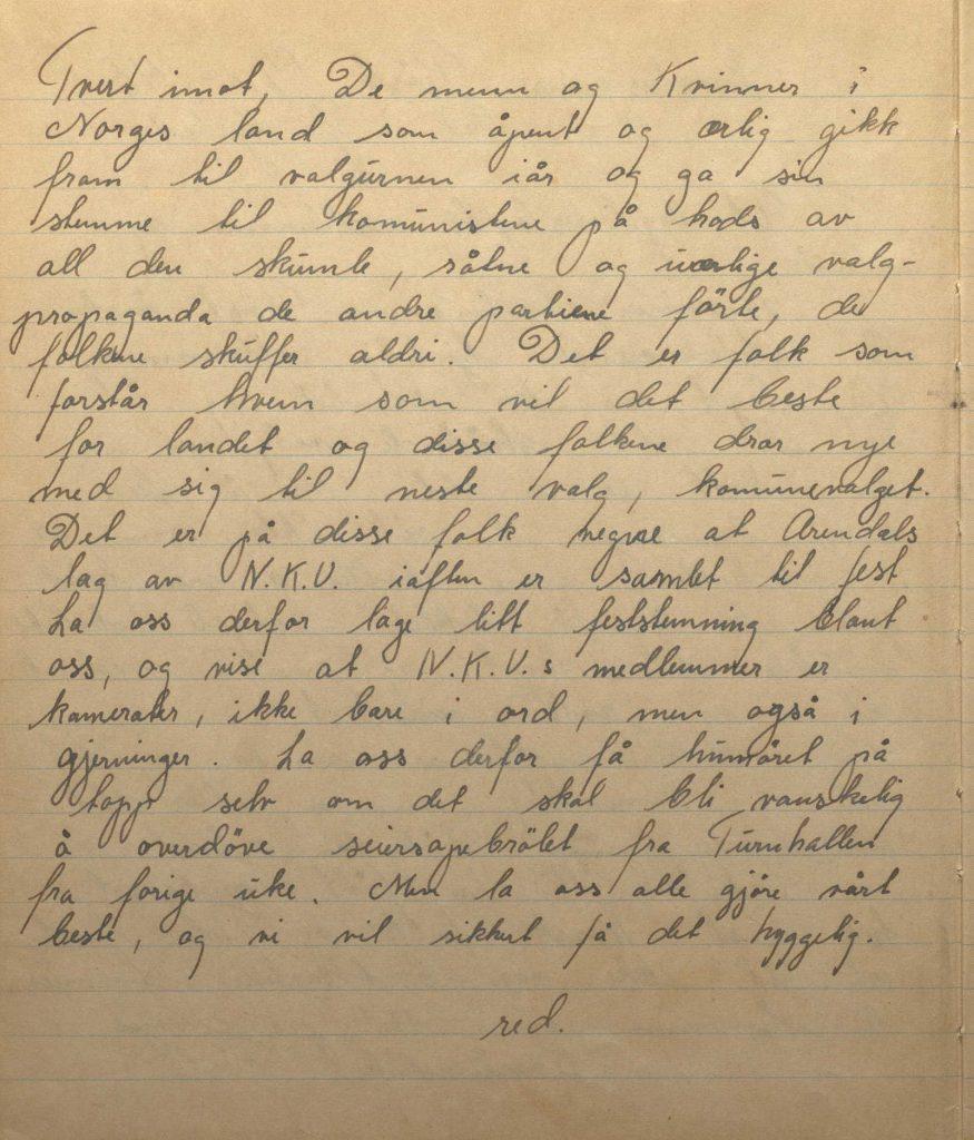 Revolusjonens Røst Lagsavis for Arendals lag av N.K.U. 17.10.1945 s. 2