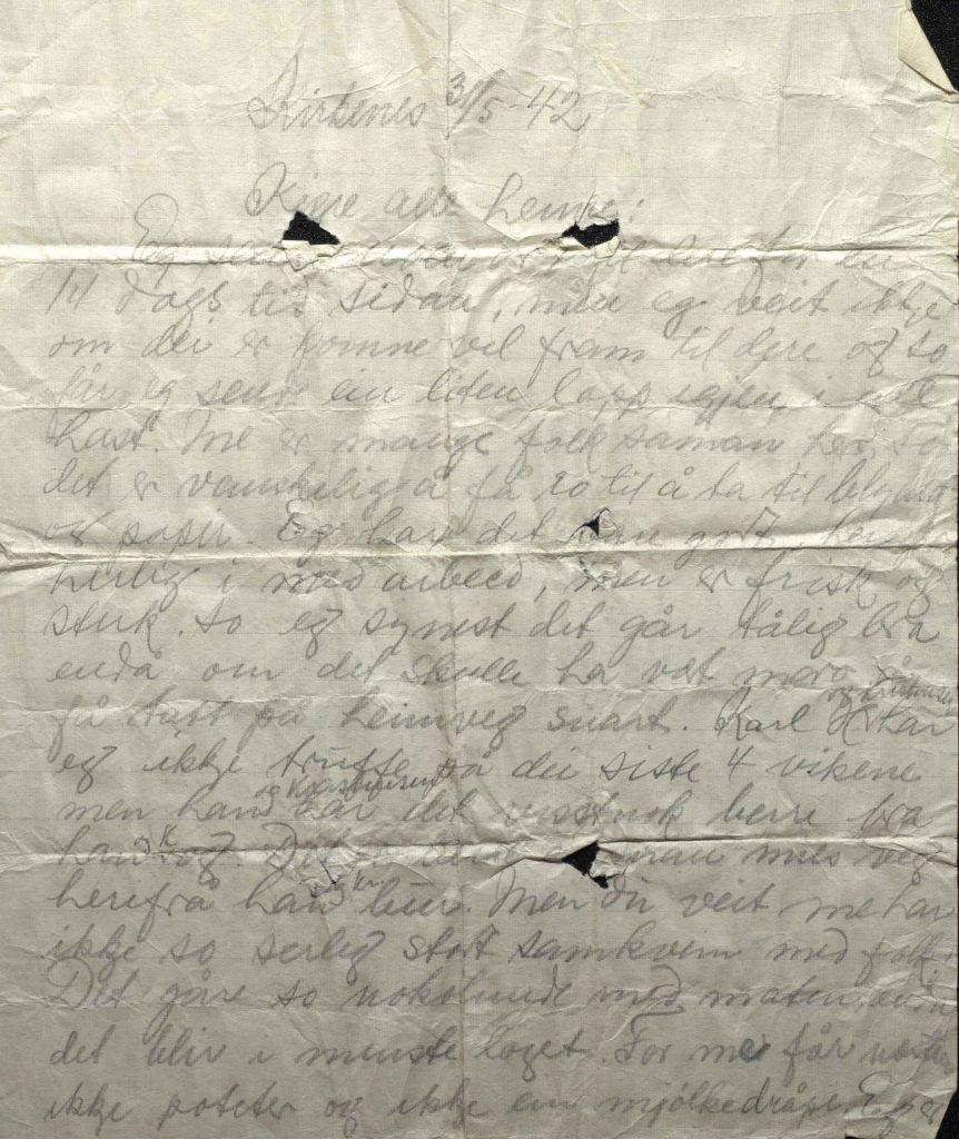 Brev fra Johan Helle 31.5.1942, Kirkenes, s.1, lå i en gjemt flaske