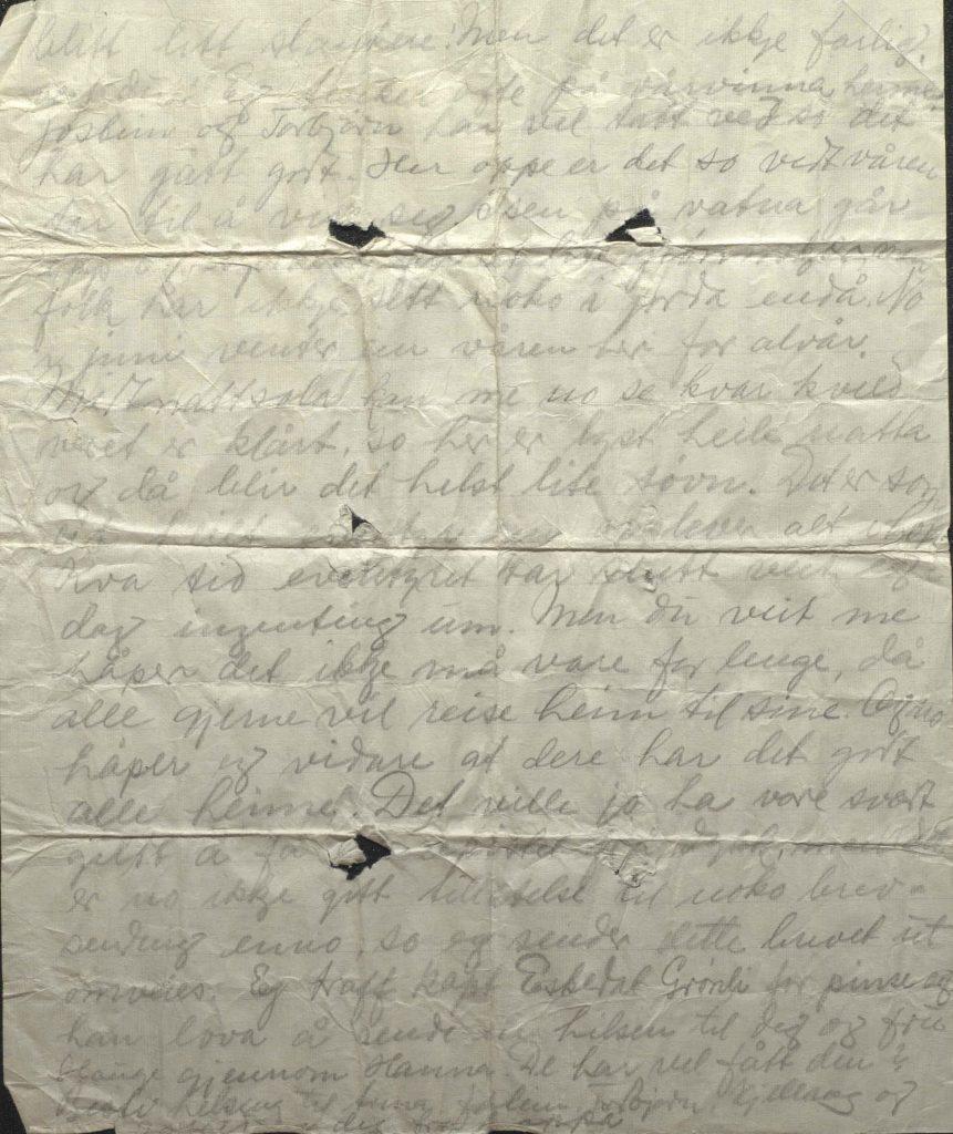 Brev fra Johan Helle 31.5.1942, Kirkenes, s.2, lå i en gjemt flaske