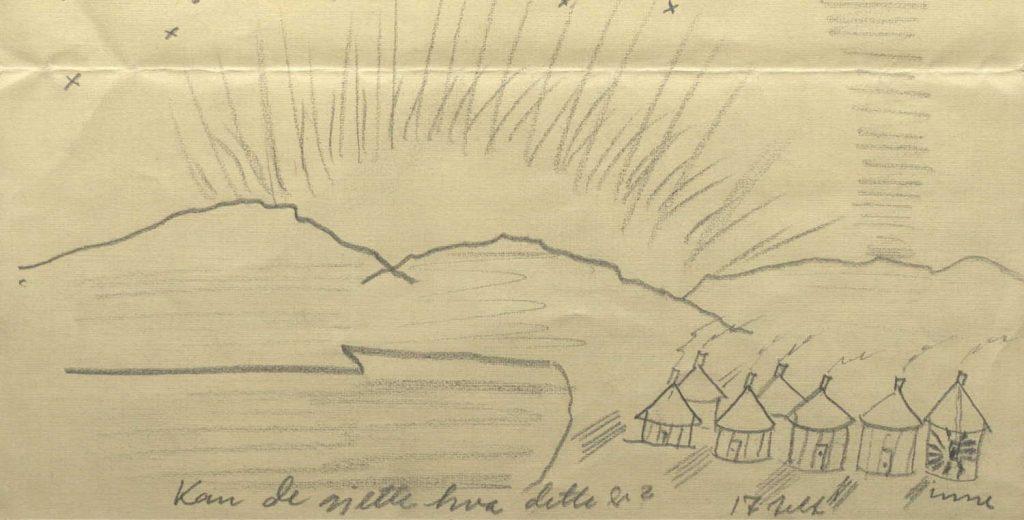 Tegning av teltleiren utenfor Kirkenes